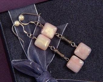 "Earrings 2X Pink Opal 10mm Squares 925 2.25"" ESOP1503"