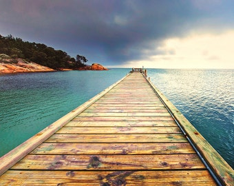 Landscape Fine Art Print, long pier at Freycinet Resort, Tasmania, Australia