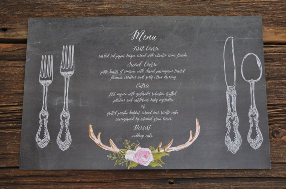 printable chalkboard placemat with custom menu 11x17 great for