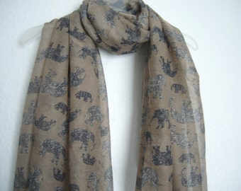 Brown Elephant Scarf, Light Brown Elephant Scarf, For Her, Spring Summer Scarf, Animal Scarf