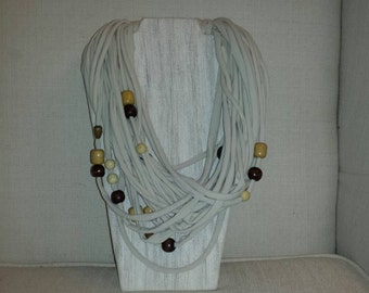 Up cycled tshirt Infinity scarf with wooden beads
