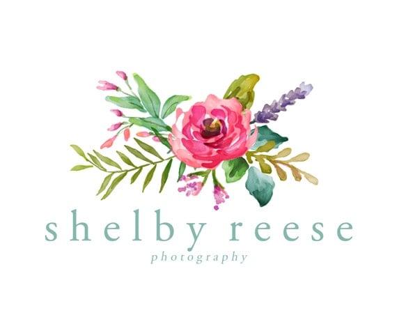 Premade Logo Design - Watercolor Flower Logo - Watercolor Floral ...