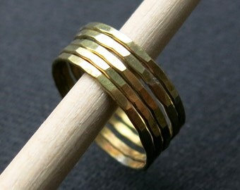 Stacking ring, faceted, 1.2mm, brass