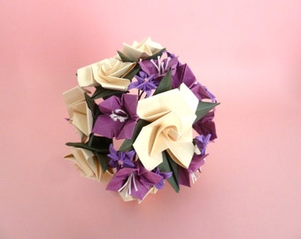 Wedding Bouquet - violet and ivory - made with origami paper flowers -  roses and begonias
