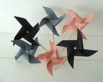 6 pics windmills (black, grey, pink) party table decoration, candy bar, wedding, baptism, birthday, baby