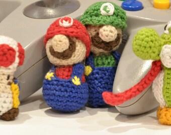 CROCHET PATTERN: Mario Luigi (movable heads) Yoshi Toad Miniature Nintendo Dolls