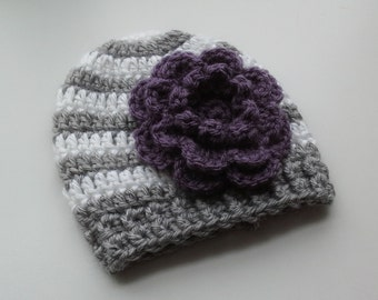 Gray and White Striped Flower Beanie - Interchangable Flowers - All Sizes! Newborn to Adult - Cute for Matching mommy and me hats
