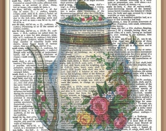 Vintage Shabby Teapot with Painted Roses -Vintage Dictionary Art Print---Fits 8x10 Mat or Frame