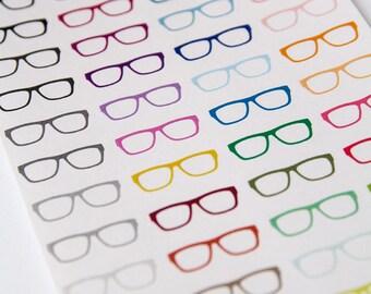 Nerd glasses sticker, hipster stickers, geek sticker, planner sticker, eyeglasses reminder, eclp filofax happy planner kikkik back to school