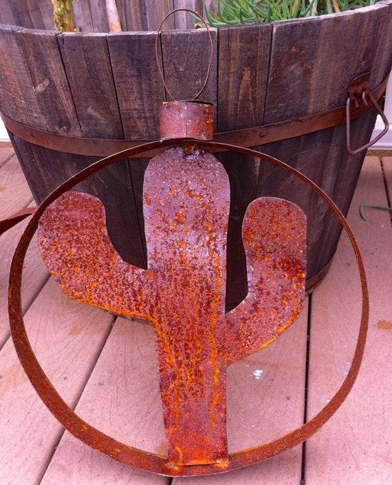 Rustic Steel Cactus Ornament Wall Art Metal Yard By
