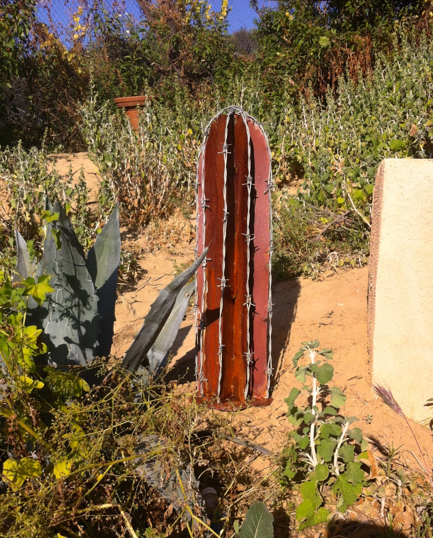 Rustic BarbWire Cactus Metal Yard Art Southwestern Decor