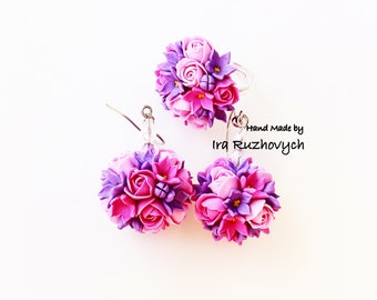 Polymer Clay Jewelry, floral earrings and ring , Handmade Flowers, flower ball earrings