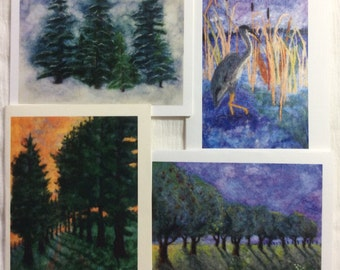 Art Note Cards - Needle Felted Images by Anne Moriarty. Packet of 4 cards and envelopes.