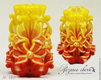 "Carved Candle ""Sun Flower""  - Small Carved Candle (10cm)  - Carved Candle - Unusual gift - Handmade candles"