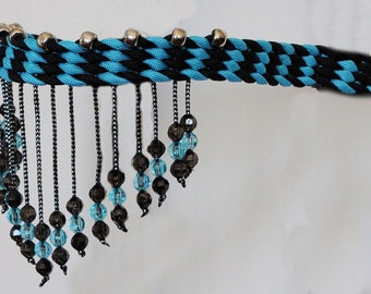 Stunning Hand Braided Beaded Browband, Horse Tack,  TURQUOISE / BLACK   **New**