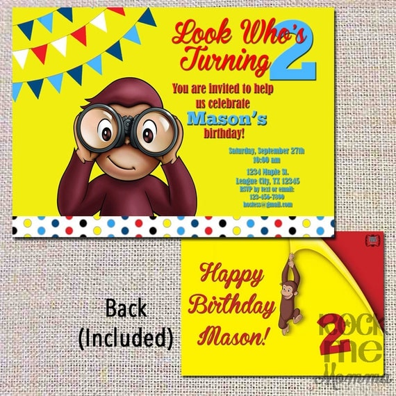 curious george birthday invitation look who's by rockmemommashop, Birthday invitations