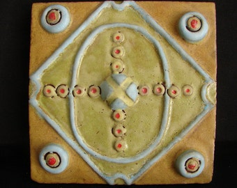 "FOUR EYES  5 3/4"" Handmade Stoneware Tile"