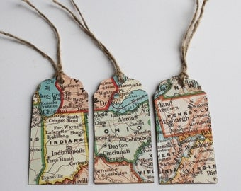 Vintage map gift tags, set of 3, upcycled maps