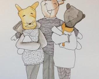 Three good friends - Illustration - PRINT A4