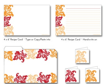 SWIRLS Orange, Red, Peach Printable EDITABLE - Recipe Cards, Mini Folder & Gift Tags - Type or Paste Recipes into PDF - No Writing Needed