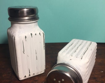 Vintage inspired shabby chic salt and pepper shakers