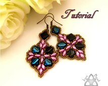 PDF Tutorial Anya Earrings with Silky Beads and Super Duo Beads. Pattern, Instructions, beadwork. English Only,