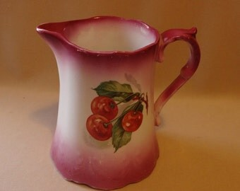 Pitcher Lebeau Porcelain Cherry Pitcher Pink Shading - Vintage Pitcher Collectible