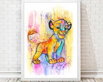 Simba Watercolor Abstract Print Disney Poster The Lion King Nursery Art Colorful Illustration Children Gift Baby