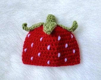 Crochet strawberry baby girl newbornhat red