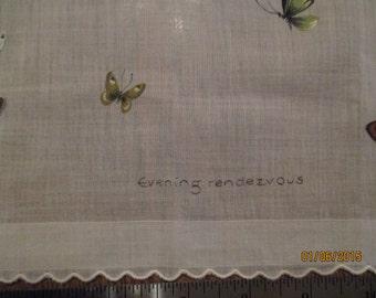 Butterflies printed white cotton handkerchief