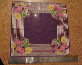 Purple tulip cotton handkerchief
