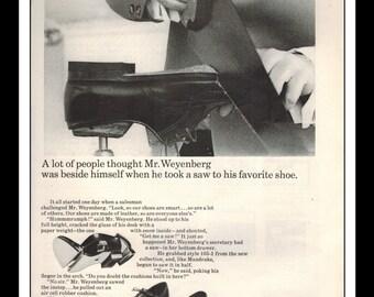 "Vintage Print Ad December 1965 : Weyenberg Massagic Shoes Wall Art Decor 8.5"" x 11"" Print Advertisement"