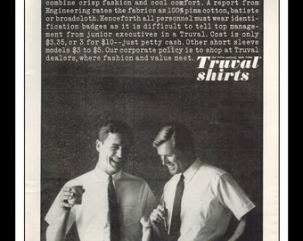 "Vintage Print Ad April 1962 : Truval Shirts Business Tie Fashion Clothing Wall Art Decor 8.5"" x 11"" each Advertisement"