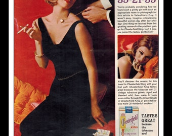 "Vintage Print Ad February 1963 : Chesterfield Cigarettes Valentina 35-21-35 Sexy Girl Wall Art Decor 8.5"" x 11"" Advertisement"