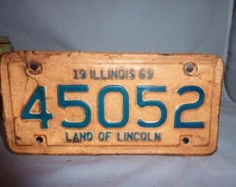 Vintage 1969 Illinois Motorcycle License Plate