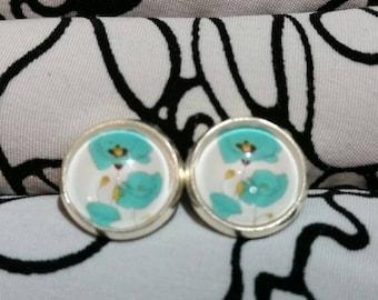 Robin Egg Blue Flower Poppy Stud Earrings