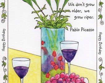 Watercolor Picasso Wine Birthday Card.  Inside: Cheers to maturity!  Happy Birthday.  5x7 recycled card stock & envelope.