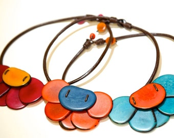 Blue and Red Flower Tagua / Vegetable Ivory Leather Cord Necklace, Tagua Nut Choker, Flower Necklace