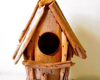 Driftwood Birdhouse-Driftwood Home Decor-Wooden Birdhouse-Nautical Birdhouse-Beach Birdhouse-Handmade driftwood birdhouse-birdhouse decor