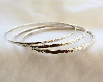3-pack 4mm Width Sterling Silver Bangles