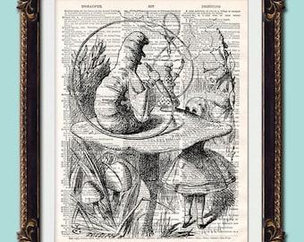"Antique vintage dictionary retro art print Alice in Wonderland ""Hookah-smoking caterpillar"" gothic 10x8 printed onto original pre 1900 pages"