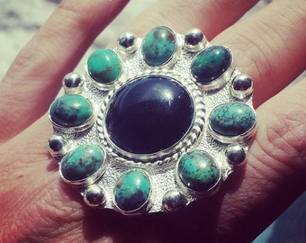 Black Onyx, Turquoise, Cluster Ring, Size 7 1/2, Statement Ring, Sterling Silver, Textured, Ring, Quality
