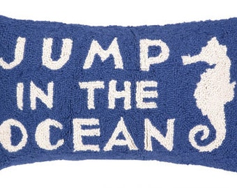 Jump in the Ocean Hand-Hooked Pillow