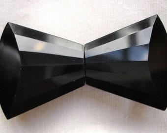 Art Deco Black Czech Glass Two Piece Dress Buckle
