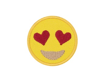 Heart Eyes Emoji Embroidered Iron On Patch - FREE SHIPPING