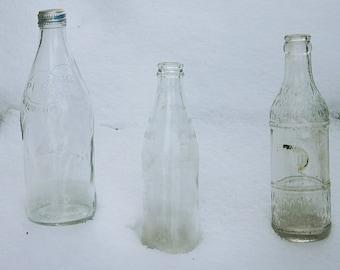 Vintage Soda Bottles, Vintage Pop Bottles, Pepsi Bottle, Glass Bottles, Set of Three