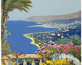 T12 Vintage 1920 Italy San Remo Sanremo Italian Travel Poster Re-Print Wall Decor A1/A2/A3/A4