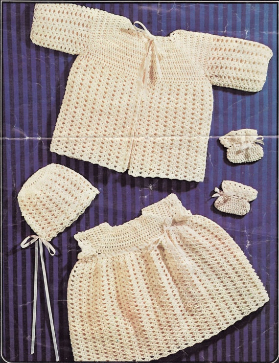 Crochet baby coat dress booties bonnet vintage pattern baby