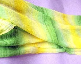 Vintage Ann Taylor Scarf - Silk Chiffon - Bright Yellow and Green - 1990s