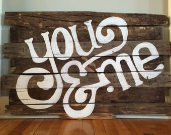 "Reclaimed wood ""You & Me"" wall art"